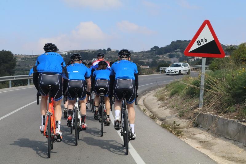 B&B Calpe fietsgroep steile helling